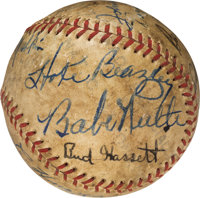 1930's Baseball Greats Multi-Signed Baseball with Babe Ruth