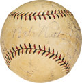 Autographs:Baseballs, 1930 New York Yankees Team Signed Baseball from Scrimmage vs. University of Texas Longhorns....