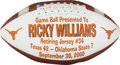 Football Collectibles:Others, 2000 Ricky Williams Jersey Retirement Presentational Game Football....