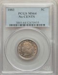 Liberty Nickels: , 1883 5C No Cents MS64 PCGS. PCGS Population: (3696/2246). NGC Census: (2505/2489). CDN: $60 Whsle. Bid for problem-free NGC...