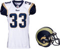 Football Collectibles:Uniforms, 2011 Cadillac Williams Game Worn St. Louis Rams Jersey and Helmet....