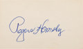 Autographs:Index Cards, 1950's Rogers Hornsby Signed Index Card....