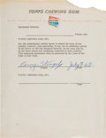 Baseball Collectibles:Others, 1962 Casey Stengel Signed Topps Chewing Gum Contract from The Casey Stengel Collection - Mets Inaugural Season!...