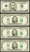 Fr. 1985-F* $5 1995 Federal Reserve Star Notes. Three Consecutive Examples. Choice CU or Better; Fr. 1990-F $5