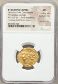 Ancients:Byzantine, Ancients: Heraclius (AD 610-641) and Heraclius Constantine. AV solidus (22mm, 4.45 gm, 6h). NGC MS 4/5 - 4/5, adjusted flan....