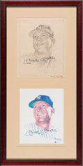 Baseball Collectibles:Others, Circa 1989 Mickey Mantle Signed Ron Lewis Original Artwork Display....