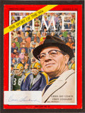 Football Collectibles:Others, 1960's Vince Lombardi Signed Cut Signature Magazine Display....