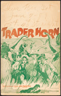 "Movie Posters:Adventure, Trader Horn (MGM, 1931). Folded, Fine. Window Card (14"" X 22""). Adventure.. ..."