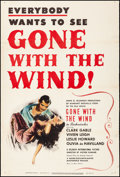 "Movie Posters:Academy Award Winners, Gone with the Wind (MGM, R-1947). Fine+ on European Linen. Trimmed One Sheet (27"" X 40""). Academy Award Winners.. ..."