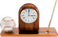 Baseball Collectibles:Others, 1980's Mickey Mantle Personally Owned Clock with Single Signed Baseball. ...
