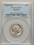 1938-D/S 5C Buffalo MS67 PCGS. PCGS Population: (248/1). NGC Census: (100/8). CDN: $525 Whsle. Bid for problem-free NGC/...