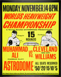 Boxing Collectibles:Autographs, 1966 Muhammad Ali vs. Cleveland Williams Signed On-Site Boxing Poster. ...