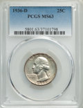 1936-D 25C MS63 PCGS. PCGS Population: (376/1291). NGC Census: (214/553). CDN: $575 Whsle. Bid for problem-free NGC/PCGS...
