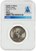 Explorers:Space Exploration, Apollo 11 Flown MS67 NGC Sterling Silver Robbins Medallion...