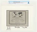 Explorers:Space Exploration, Apollo 11 State Dinner, August 13, 1969: Crew-Signed Souvenir Lunar Replica Plaque with Neil and Janet's Presidential Invitati... (Total: 4 Items)