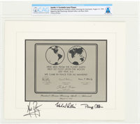 Apollo 11 State Dinner, August 13, 1969: Crew-Signed Souvenir Lunar Replica Plaque with Neil and Janet's Presidential In...