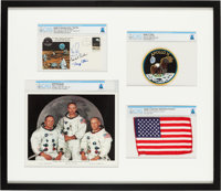 Apollo 11: Deluxe Limited Edition (#3/11) Framed Presentation including a Flown American Flag, a Crew-Signed Insurance C...