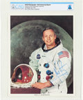 Explorers:Space Exploration, Neil Armstrong Uninscribed Signed White Spacesuit Color Photo Directly From The Armstrong Family Collection™, CAG Certifie...