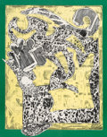 Fine Art - Work on Paper:Print, After Frank Stella . Green Journal, poster, 1985. Screenprint in colors on smooth wove paper. 36 x 28 inches (91.4 x 71....