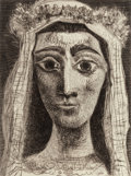 Prints:Contemporary, Pablo Picasso (1881-1973). Jacqueline en Mariée, de face, 1961. Aquatint with drypoint and engraving on Arches paper. 15...