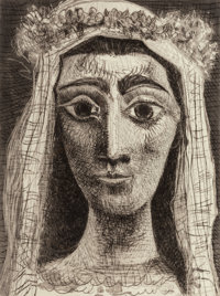 Pablo Picasso (1881-1973) Jacqueline en Mariée, de face, 1961 Aquatint with drypoint and engraving o