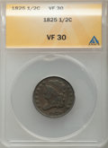 1825 1/2 C VF30 ANACS. CDN: $115 Whsle. Bid for problem-free NGC/PCGS VF30. Mintage 63,000