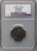 1787 1/2 C Massachusetts Half Cent -- Damaged -- NCS. Fine Details. NGC Census: (0/102). PCGS Population: (4/302)....(PC...