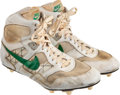 Football Collectibles:Others, Circa 1987 Reggie White Game/Practice Worn & Signed Cleats....
