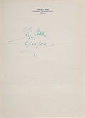Autographs:Others, 1954 Ty Cobb Signed Letterhead....