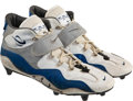 Football Collectibles:Others, 1996 Barry Sanders Game Worn & Signed Detroit Lions Cleats....