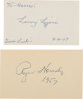 Baseball Collectibles:Others, 1957 Rogers Hornsby & Napoleon Lajoie Signed Index Cards. ...
