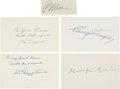 Autographs:Index Cards, 1950's Hall of Famers Multi-Signed Index Cards & Signed Cut Signatures Lot of 5....
