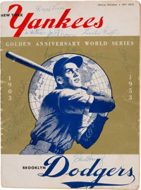 1953 New York Yankees vs. Brooklyn Dodgers World Series (Game 3) Program Signed by 65