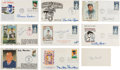 Autographs:Others, 1982-89 Baseball Hall of Famers Multi-Signed First Day Covers Lot of 9....