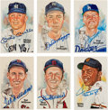 Autographs:Post Cards, Circa 1990 Baseball Hall of Famers Signed & Unsigned Perez-Steele Postcards Lot of 55....
