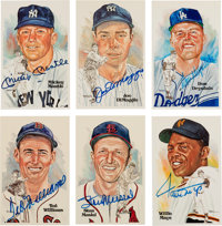 Circa 1990 Baseball Hall of Famers Signed & Unsigned Perez-Steele Postcards Lot of 55