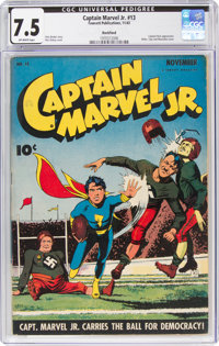 Captain Marvel Jr. #13 Rockford Pedigree (Fawcett Publications, 1943) CGC VF- 7.5 Off-white pages