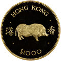 """Hong Kong : British Colony. Elizabeth II gold Proof """"Year of the Pig"""" 1000 Dollars 1983 PR68 Ultra Cameo NGC..."""
