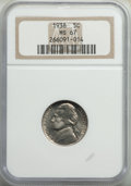 Jefferson Nickels, 1938 5C MS67 NGC. NGC Census: (194/1). PCGS Population: (39/0). CDN: $125 Whsle. Bid for problem-free NGC/PCGS MS67. Mintag...