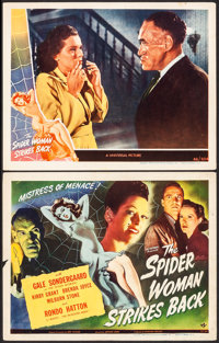 "The Spider Woman Strikes Back (Universal, 1946). Fine/Very Fine. Title Lobby Card & Lobby Card (11"" X 14"")..."