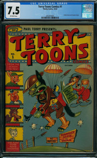 Terry-Toons Comics #1 (Timely, 1942) CGC VF- 7.5 Off-white pages