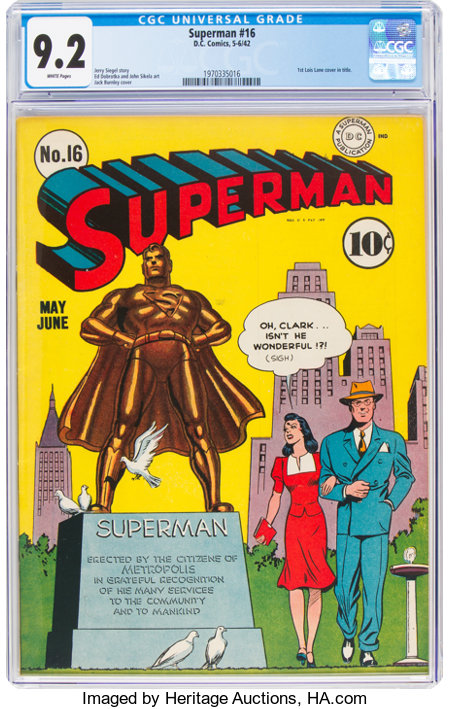 Superman #16 (DC, 1942) CGC NM- 9.2 White pages....