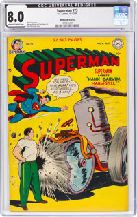 Superman #73 Mohawk Valley Pedigree (DC, 1951) CGC VF 8.0 Off-white to white pages