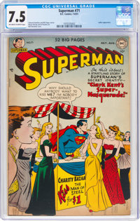 Superman #71 (DC, 1951) CGC VF- 7.5 Off-white to white pages