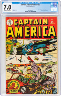 Captain America Comics #36 (Timely, 1944) CGC FN/VF 7.0 Off-white to white pages