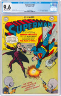 Golden Age (1938-1955):Superhero, Superman #62 (DC, 1950) CGC NM+ 9.6 Off-white to white pages....