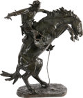 Sculpture, Frederic Remington (American, 1861-1909). The Bronco Buster, conceived 1908, cast 1910. Bronze with greenish-brown patin...