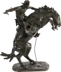 Frederic Remington (American, 1861-1909) The Bronco Buster, conceived 1895, cast 1909 Bronze with greenish-brown patin...