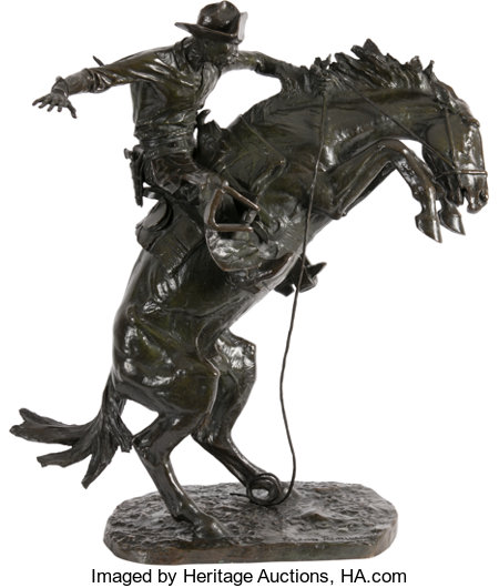Frederic Remington (American, 1861-1909) The Bronco Buster, conceived 1908, cast 1910 Bronze with greenish-brown patin...
