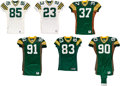 Football Collectibles:Uniforms, 1995-98 Green Bay Packers Game Worn Jerseys Lot of 6 - All Members of Super Bowl XXXI Championship Team!... (Total: 6 item)